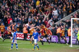 The Bradford players and supporters celebrate re-taking the lead