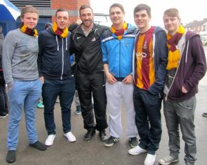 McArdle has a photo with a group of Bradford fans