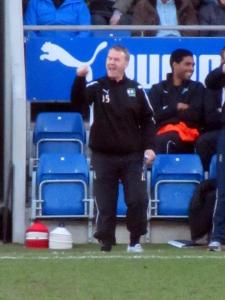 Plymouth boss John Sheridan shouts from the touchline