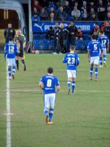 The Chesterfield players head to the dressing rooms at half time