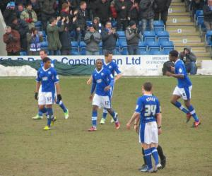 The Chesterfield players celebrate Marc Richards' equaliser