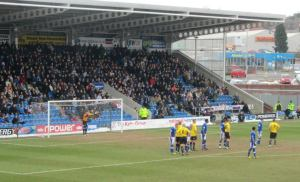 The Spireites defend a set piece