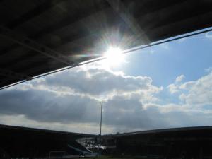 The sun shines over the stadium