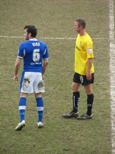 Sam Hird marks Tom Pope