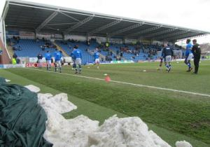 The home players warm up