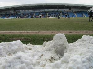 Snow at pitchside in April!