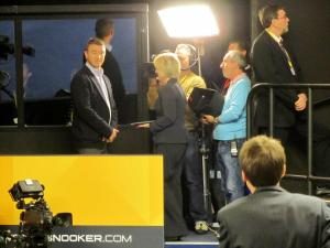 Hazel Irvine and Stephen Hendry prepare to present the BBC coverage