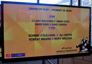 Today's order of play