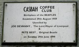 The plaque to the 'birthplace of the Beatles'