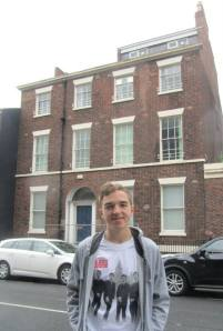 Outside Brian Epstein's birthplace
