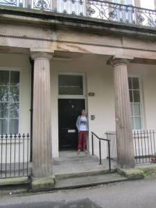 Stood outside the flat shared by John Lennon, Stuart Sutcliffe and Rod Murray