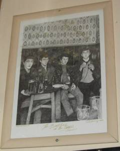 A sketch of the picture of the Beatles in the Grapes, this time the correct way round