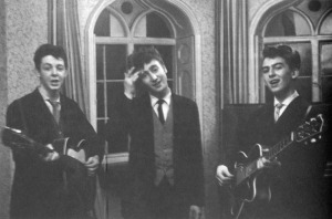 The Beatles play at Harrison's brother's wedding reception at the house in 1958