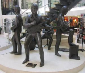 A statue of the group in Cavern Walks
