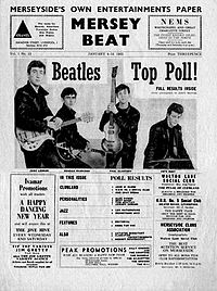 The Beatles on the cover of the Mersey Beat in 1962