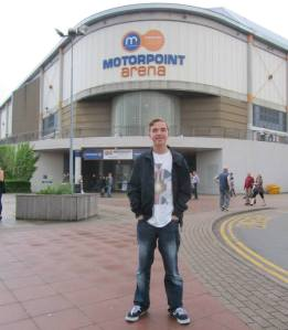 Outside the Motorpoint Arena before the show