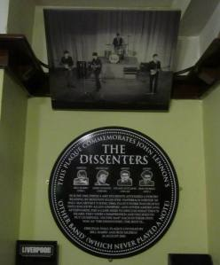 A plaque to remember the Dissenters - a group of boys, including John Lennon, who drank in the pub