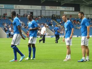 Armand Gnanduillet, Nathan Smith, Jamie Devitt and Matty Brown warm up