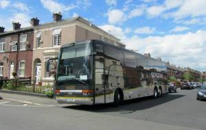 The Chesterfield team coach outside Gigg Lane