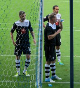 Humphreys, Togwell and O'Shea prepare to defend an early corner