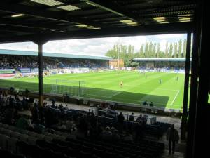 Gigg Lane from the back corner of the away end