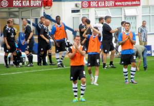 The players applaud the supporters