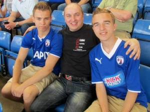 Michael, my Dad and me on the away end