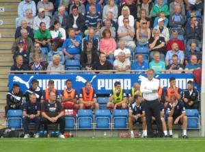 Mark Yates and the visitors bench