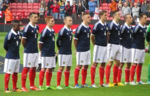 The Scots sing their anthem