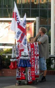 England merchandise on sale outside the ground