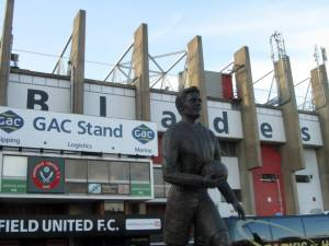 The statue of United legend Joe Shaw outside Bramall Lane