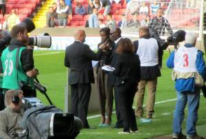Laurie Cunningham's brother was the special guest at tonight's match. It was in respect of the fact that Cunningham was the first black player at any level to score a goal for England at Bramall Lane v Wales in 1977.