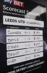 Chesterfield odds are shown inside the away end