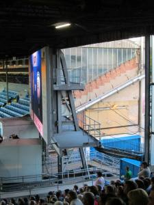 The edge of the old stand behind the scoreboard