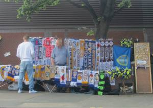 Merchandise on sale outside the stadium