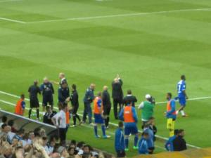 Brian McDermott applauds the Leeds supporters at full time