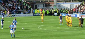 Chesterfield stand over a free kick
