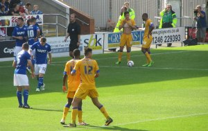Mansfield receive a free kick on the edge of the box