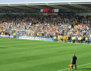 The travelling supporters go crazy