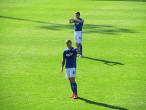 The disappointed Chesterfield players applaud the fans