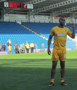Goalscorer Calvin Andrew poses for a photo