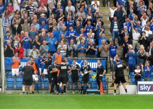 The Chesterfield dugout goes wild with celebrations