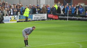 The Stanley keeper and Chesterfield fans watch the final few moments