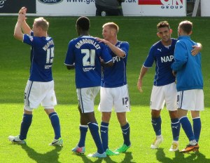The Chesterfield players enjoy the victory
