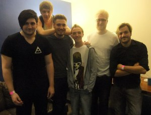 with the band after the interview. (left to right - Theo, Jordan, Lewis, Chris, Daniel)
