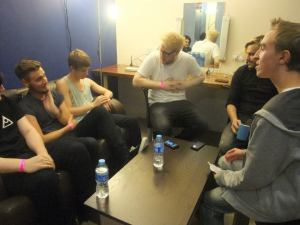Interviewing the band - (left to right) Theo, Lewis, Jordan, Chris, Dan