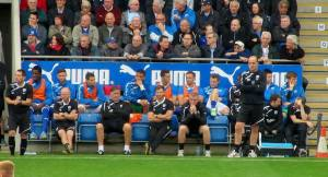 The Chesterfield dugout looks disappointed at the poor start