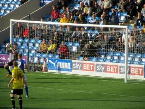 The Burton goalkeeper save sit comfortably