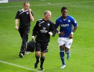 The Ivorian striker receives treatment