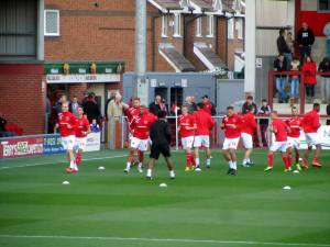 The Fleetwood players warm up